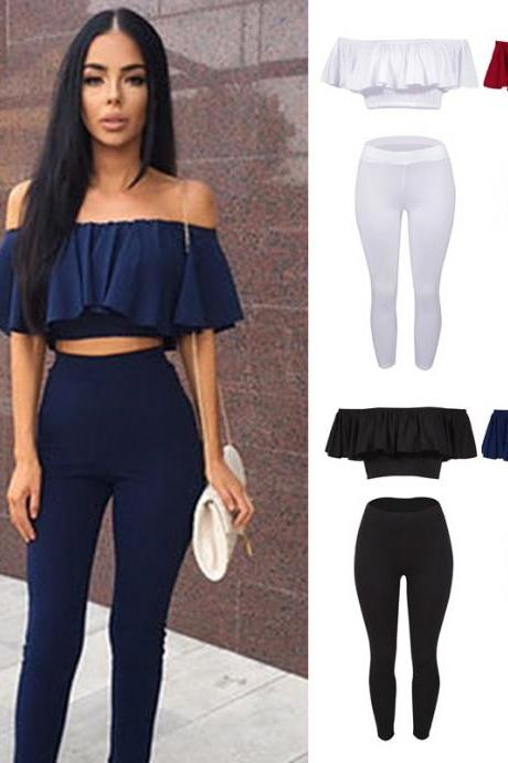Women Sexy Strapless Jumpsuit Solid Color Leggings Two Piece Suit