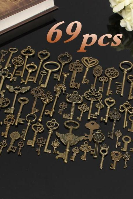Fashion Set of 69 Antique Vintage Old Look Bronze Skeleton Keys DIY Handmade Accessories