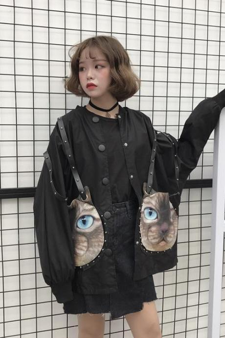 Harajuku Rivet Strap Cartoon Cat BF Bat Sleeves Loose Coat Jacket