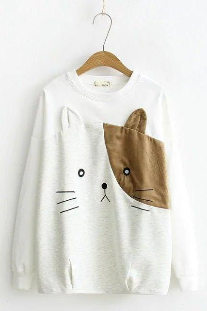 Women Cute Cat Ear Loose Sweater Long Sleeve Sweatshirt