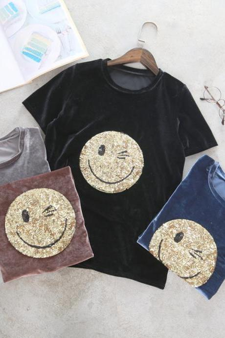 Women Smiling Face Cartoon Sequins Velvet T-shirt
