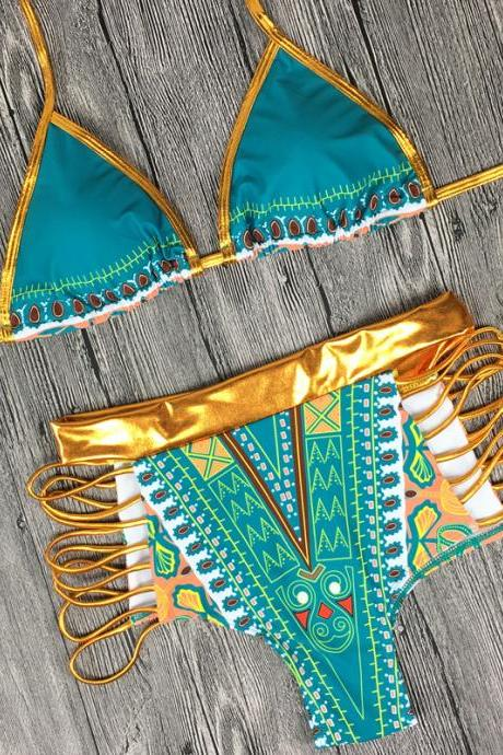Sexy Golden Bandage Backless Printing Bikini Split Swimsuit