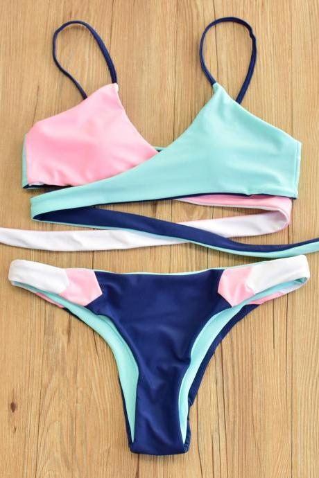 Women Mixed Colors Double-Sided Bikini Sexy Swimwear