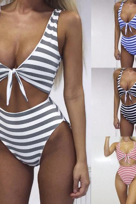 Sexy Stripe Bow Tie Bikini One Piece Swimsuit