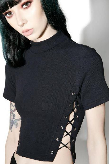 Ribbed Mock Neck Short Sleeved Cropped Top Featuring Lace-Up Detailing