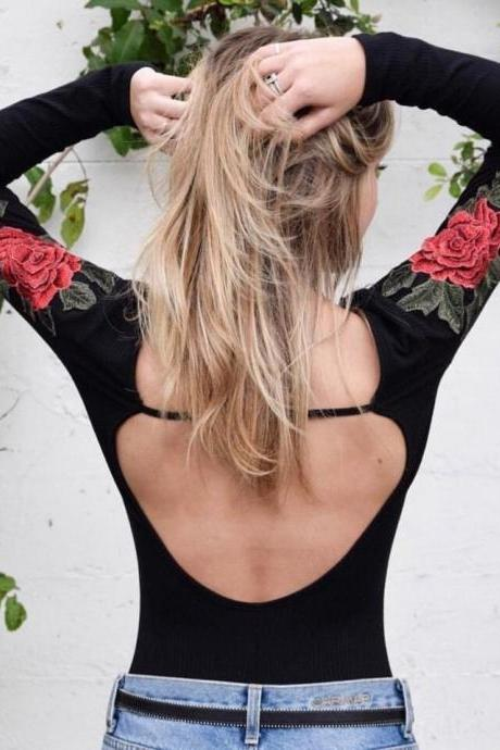 Black Rose Embroidered Long Sleeved Scoop Neck Ribbed Bodysuit Featuring Open Back