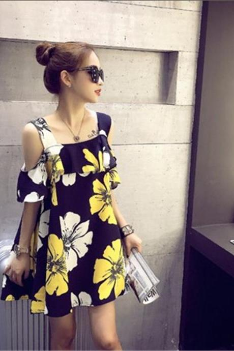 Women Loose Flowers Floral Strapless Flounced Dress Off The Shoulder Dress