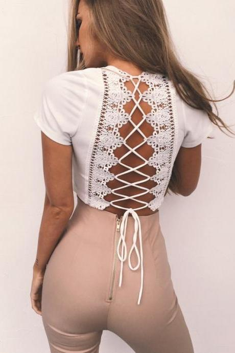 Plunge V Short Sleeved Cropped Top Featuring Lace Appliquéd and Lace-Up Back