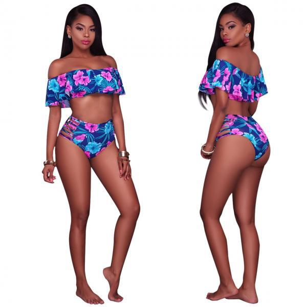 Sexy Floral Printing Off-the-shoulder Hollow Out Bikini Flounced Swimsuit Bathing Suit