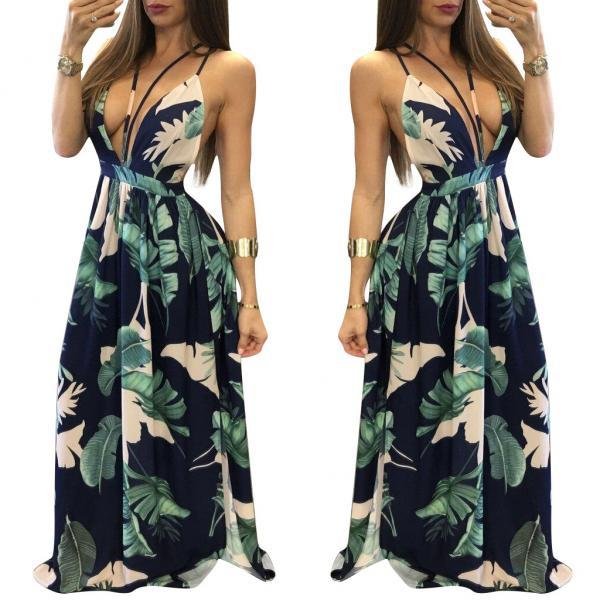 Women Sexy Deep V Neck Leaf Printing Long Dress Fashion Party Dress