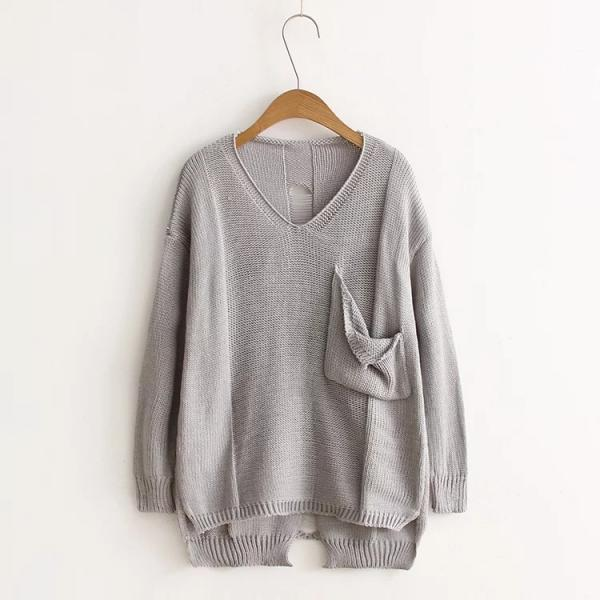 Women Deep V Neck Loose Pocket Sweater Fashion Hole Hollow Out Irregular Sweater
