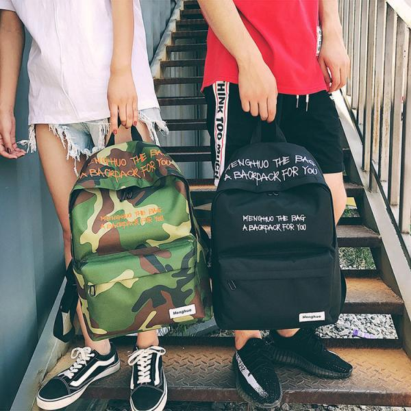 Fashion Personality Letter Embroidery Backpack Camouflage Harajuku Large Capacity Student Backpack