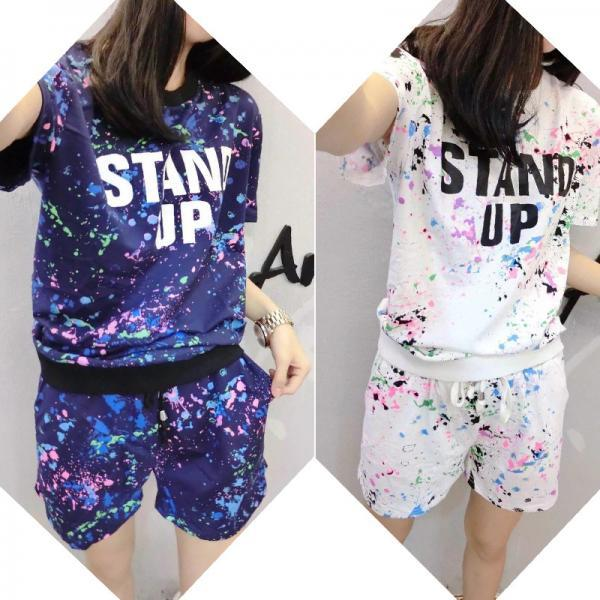 Women Fashion Starry Sky Short Sleeve Pajamas Casual Home Wear Two Piece Suit