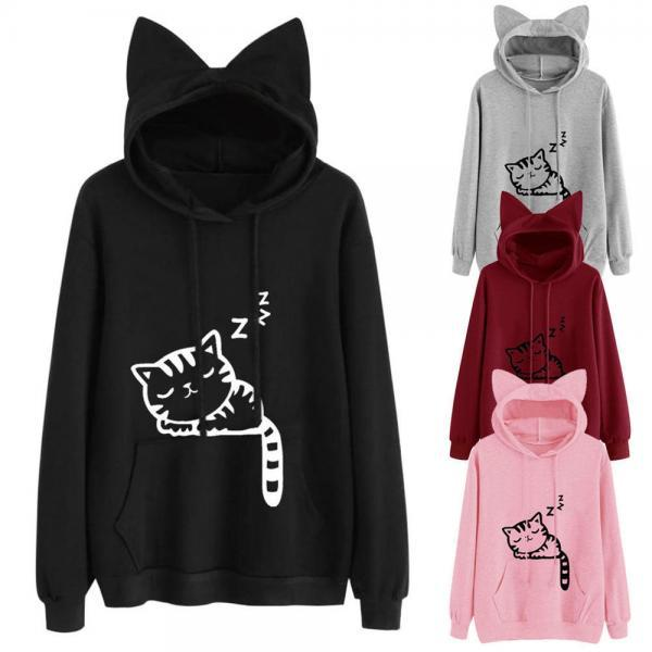 Women Cat Ear Cartoon Printing Hooded Sweatshirt Fashion Cute Sweatshirt