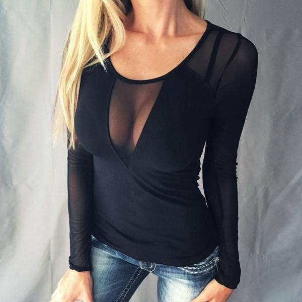 Sexy V-neck Lace Long Sleeve T-shirt Black Mesh Shirt Fashion Perspective Blouse