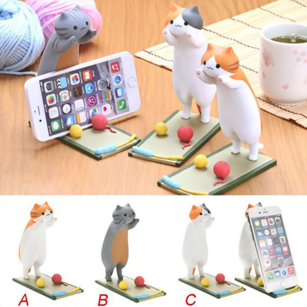 Cute Cat Phone Bracket Fashion Cat Ornaments Creative Cartoon Gift Phone Holder