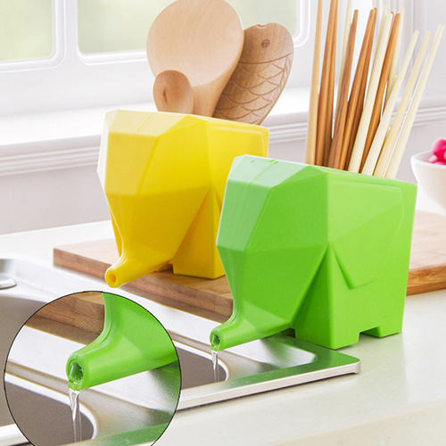 Elephant Cutlery Draine Creative Animal Flower Pot Cartoon Brush Pot Fashion Kitchen Storage Box