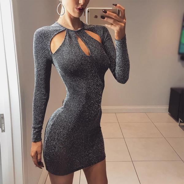 Women Fashion Sequins Club Bodycon Dress Sexy Hollow Out Long Sleeve Party Dress