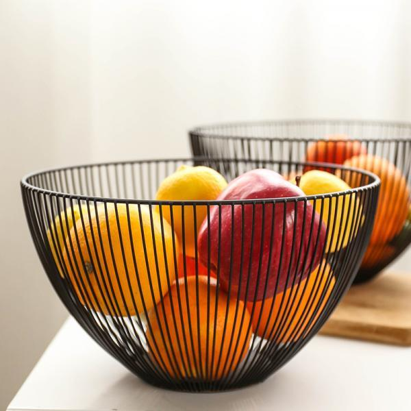Creative Fruit Basket Iron Fruit Basin Food Storage Basket Drain Hollow Fruit Bowl