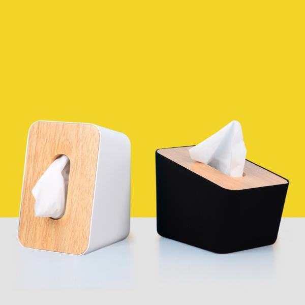 Simple Tissue Box Wooden Cover Paper Holder Creativity Napkin Box for Car Home Bathroom Kitchen Office
