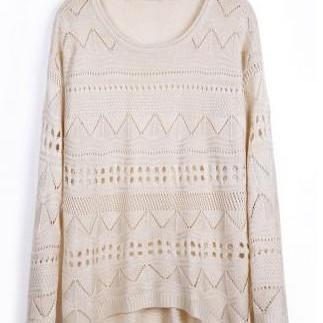 Beige Curved Hum Knit Holey Texture Sweater