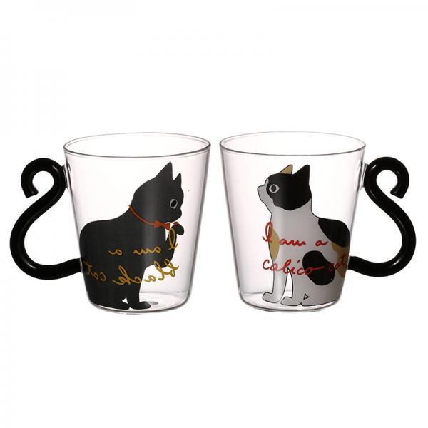 Cat Mug With Tail Handle Fashion Coffee Mug Gift for Cat Lovers Cute Cat Glass Teacup