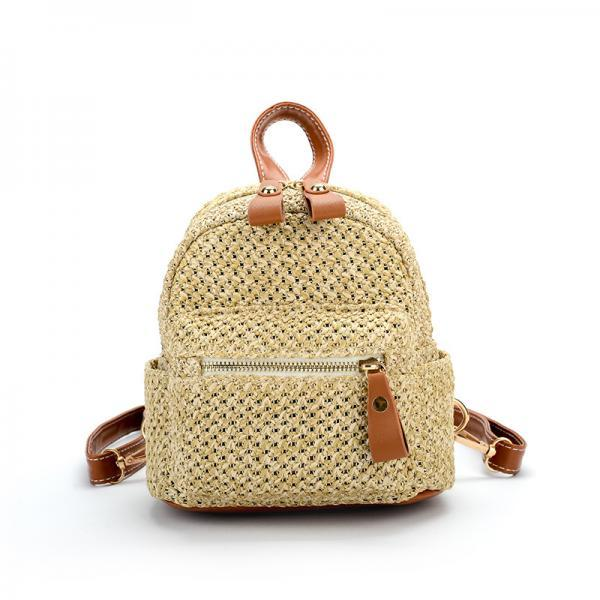 Fashion Woven Backpack Personality Shoulder Bags Travel Mini Backpack