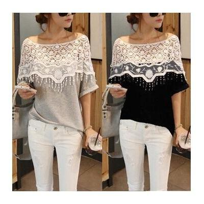 Hollow Out Lace Stitching Cotton Bat Ssleeved Loose T-shirt