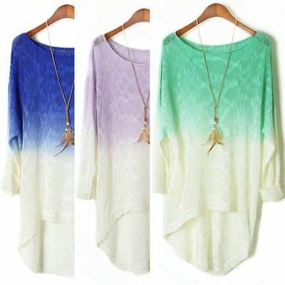 Dye Gradient Long Sleeved Bat Dovetail Irregular Sweater