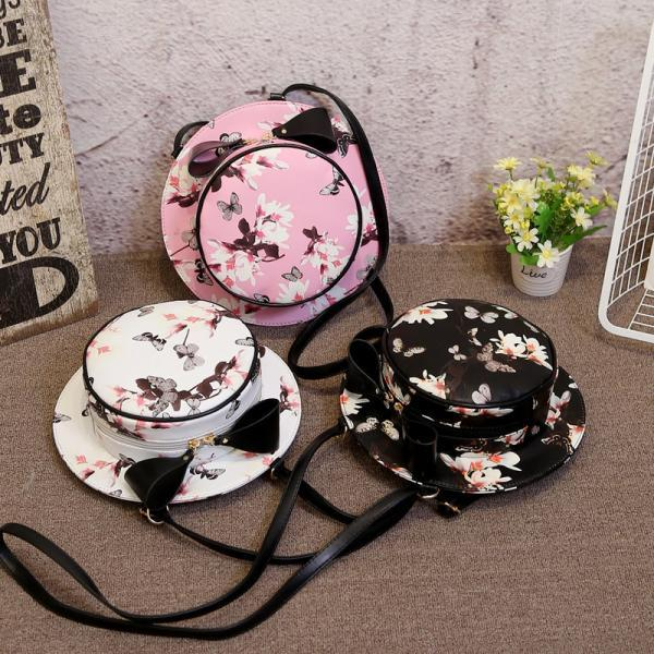 Daffodils Hat Backpack Personality Round Package Bow Shoulder Messenger Bag