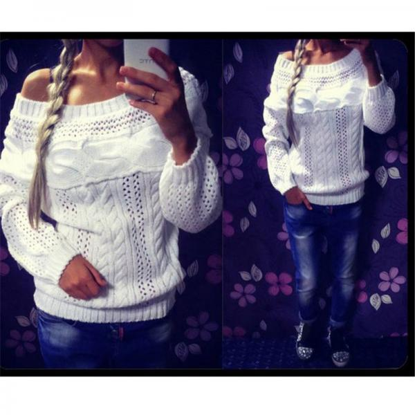 Women Casual Sexy Solid Pullover Long Sleeves Hollow Out Loose Sweater Slash Neck Sweater
