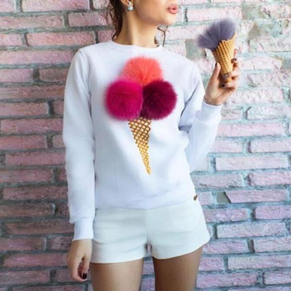 White Women's Casual Ice Cream Printing Cute Pullover Solid Round Neck Long Sleeve Cotton Sweatshirts