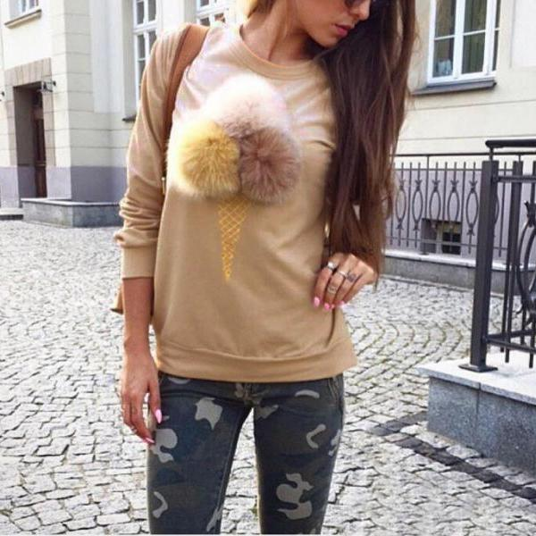 Apricot Women's Casual Ice Cream Printing Cute Pullover Solid Round Neck Long Sleeve Cotton Sweatshirts