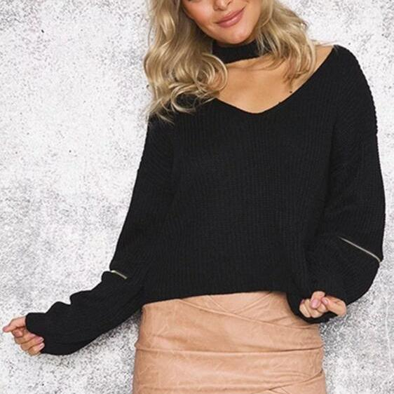 Black Women Personality Sleeve Zipper V-neck Loose Sweater