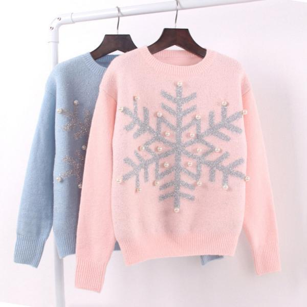 Women Snowflake Sequins Pearl Knitted Sweater Long-sleeved Christmas Sweater