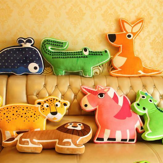 Creative Animal Modeling Elephant Cushion Unicorn Children Pillow Dog Toy Leopard Cartoon Doll(Including Core)