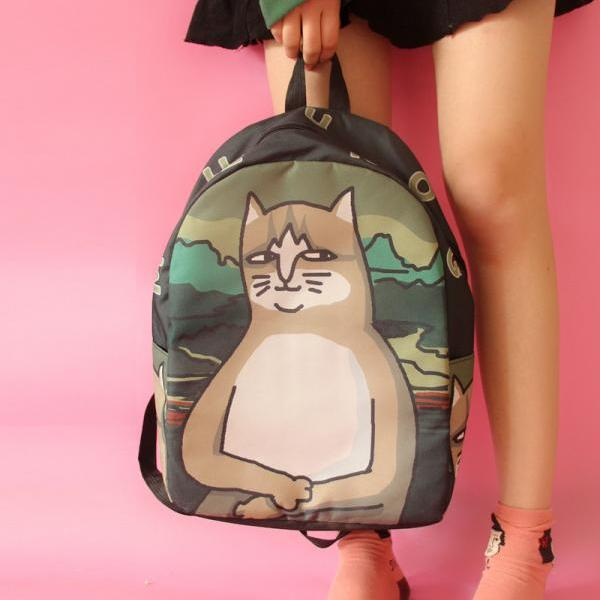 Lovely Cat Printing Canvas Backpack Student Shoulder Bag Cartoon Backpack