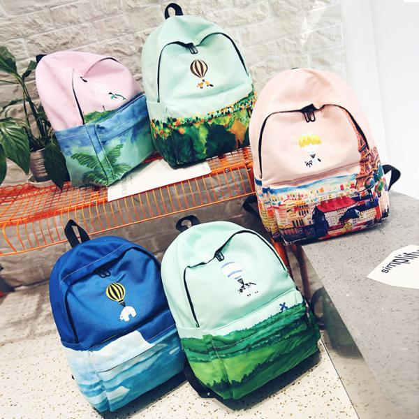 Cartoon Animals Watercolor Painting Canvas Backpack Fox Student Shoulder Bag Backpack