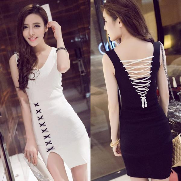 Sexy Nightclub V-neck Slim Sleeveless Cross Backless Dress