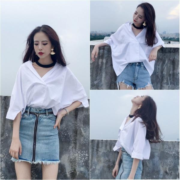 White Choker Neck Quarter Sleeve Shirt
