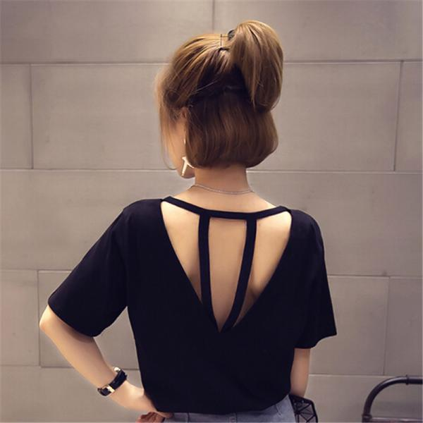 Women Backless Solid Color Short Sleeve T-shirt Plus Size Basic Shirt